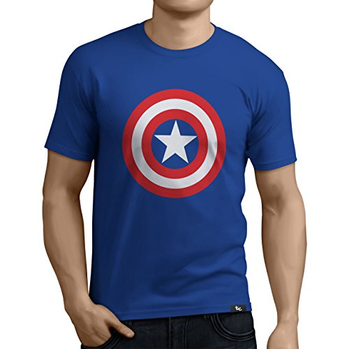 Tuning Camisetas - Camiseta Divertida para Hombre - Modelo CapitanAmericaescudo, Color Azul- Talla XL (0182-Azul-Capitan-America-escudo-XL)