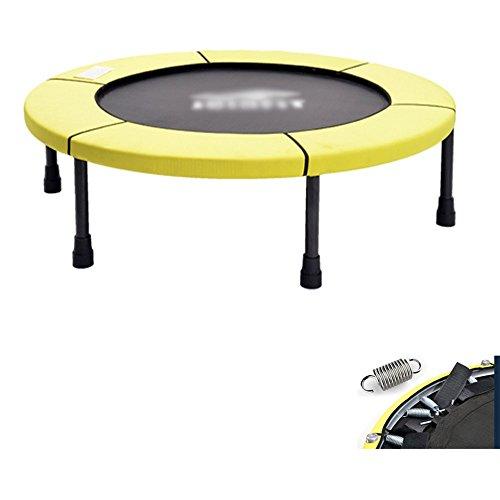 Wly&Home Trampolino Fitness (Ø101 Cm) Con Molla, Sistema Di Corde In Gomma, Tappeto Elastico Per Interni, Trampolino Per Il Fitness A Casa, Giallo