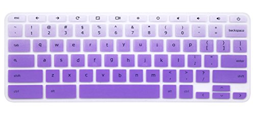 Silicone Keyboard Cover Skin Compatible 14' Dell Inspiron Chromebook 14 2-in-1 C7486 Touch-Screen (Not fit 11.6' Dell Chromebook 3180 3189 3181 3120 5190 & Dell 13.3' Chromebook 3380) Ombre Purple