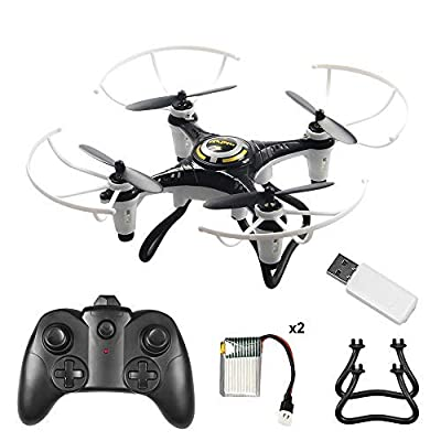 Volbaby Drone for Kids, 6-Axis Gyro 2.4Ghz Mini Drone with Led Night Light and Headless Mode 3D Flips Remote Control Drone for Boys Girls, 2 Batteries by Volbaby