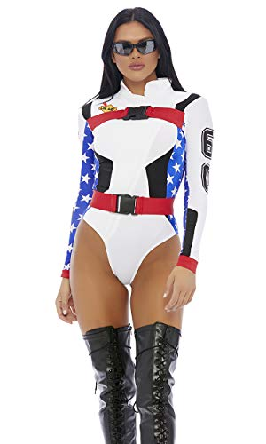 Forplay Women's Step On it Sexy Motocross Costume, White, M/L