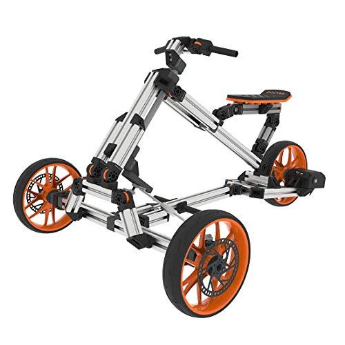 CT-Tribe Bicicleta eléctrica plegable 15 en 1, cochecito deportivo de kart, triciclo con marco multimodo, 12 pulgadas, bicicleta creativa DIY montada