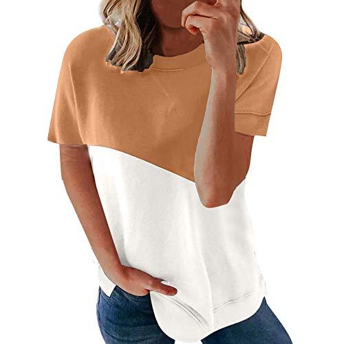 Camiseta Casual de Color A Juego para Mujer Tops de Manga Corta con Cuello Redondo Y Sarga Primavera Verano