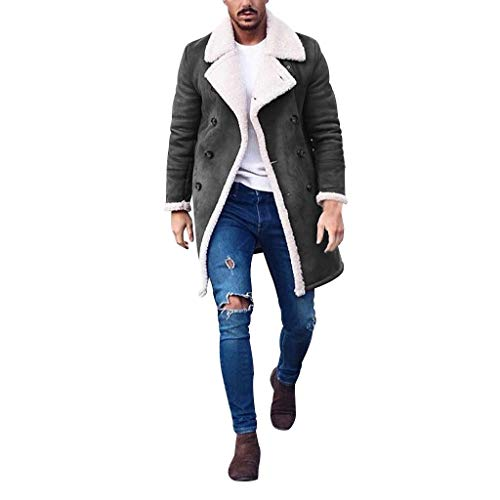Writtian Herren Wollmantel Trenchcoat Herbst Winter Schlank Zweireiher Business Überzieher Casual Sweatshirt Revers Einfarbig Patchwork Veloursleder Wintermantel Verdicken Mantel Lammwollmantel
