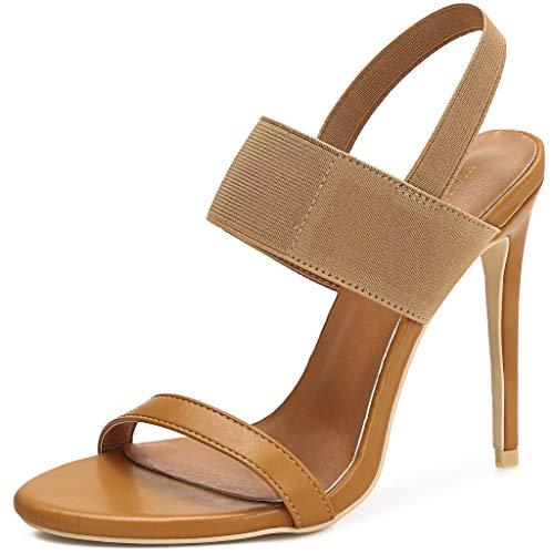 Women's Ankle Strap Stiletto Heeled Sandals Band Elastic Ladies Dress Sexy Fashion Open Toe High Heels Pumps Brown PU/Elastic Elastic BandSize US 7.5 EU38