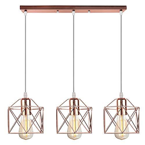 Vintage Lámpara Colgante Retro Industrial 3 Cabezas Luz de Techo Colgante Estilo Nórdico Iluminación Colgante para Cocina Comedor Oficina Salón (Oro Rose-con una barra de techo)