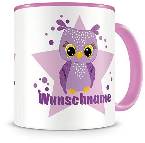 Samunshi® Kindertasse mit Namen Tasse lila Eule Personalisierte Tasse mit Namen Kinder Kinderbecher mit Namen Kindergarten rosa 300ml