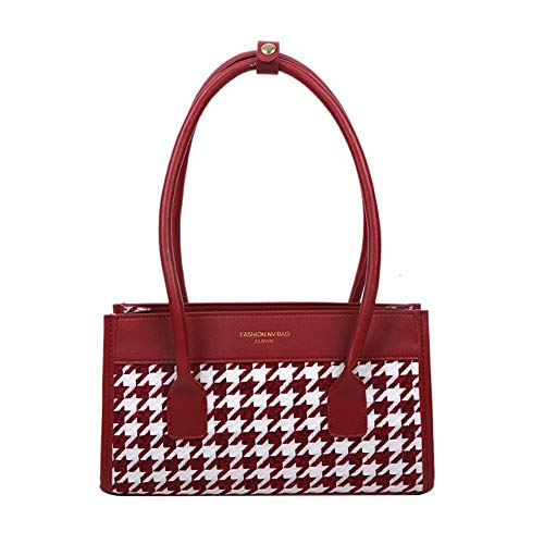 Fashion Handbag Totes Women PU Leather Plaid Splicing Travel Shoulder Underarm Portable Top-handle Bags