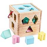 Amagogo Clasificador de Formas Juguete Bloques de Madera Geometría Aprendizaje Educativo - Azul
