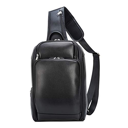 Polare Modern Style Sling Shoulder Bag Men's Travel/Hiking Daypack with Real Italian Leather and YKK Zippers(Large)