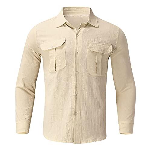Harpily Camisa de Manga Corta de Corte Regular con Botones Camisas de Manga Larga para Hombre, Camisa de Manga Larga con Botón hacia Abajo, Ropa Deportiva con Cremallera (Caqui, XL)