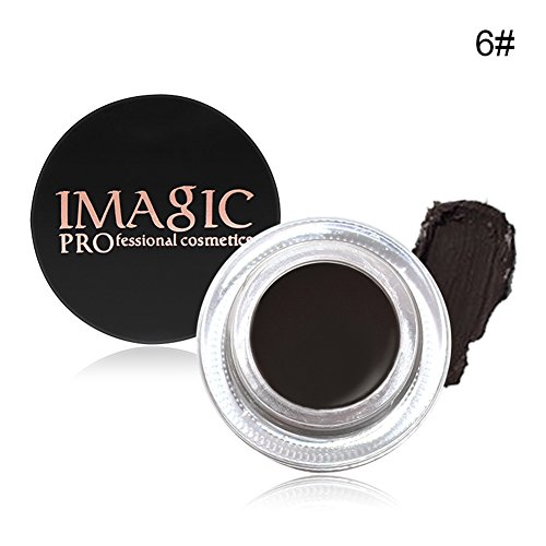 Waterproof Brows Gel, KISSION 6 Couleurs Naturelle Gel a Sourcils Creme Impermeable Teinture pour Sourcils Beaute Maquillage(EBONY)