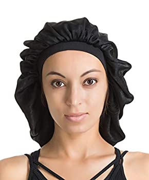 Satin Silk Bonnet Sleep Cap - Black Soft Extra Large Wide Band S Women Night Hat For Long Curly Natural Hair Cap Salon Silk Scarf Chemo Patient Slouch Slouchy Christmas Santa Day Gifts For Women