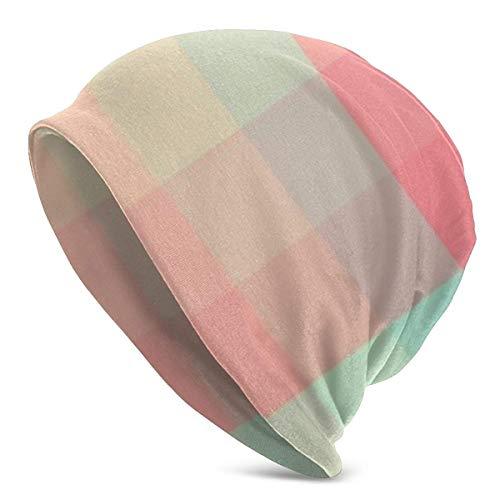 XCNGG Helle Farbe Plaid Soft Slouchy Beanie Hüte Täglich Long Baggy Skull Cap - Männer & Frauen