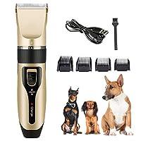 電気ペット犬シェーバークリッパー低ノイズ充電式コードレスペットグルーミングツールプロフェッショナル犬ヘアトリマー犬のための櫛ガイド付き猫