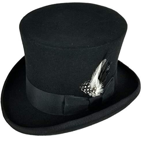Differenttouch 100% Wool Felt Top Hats Victorian Style Made Hatter 6' Tall Gentlemen Magic Hats (XL) Black