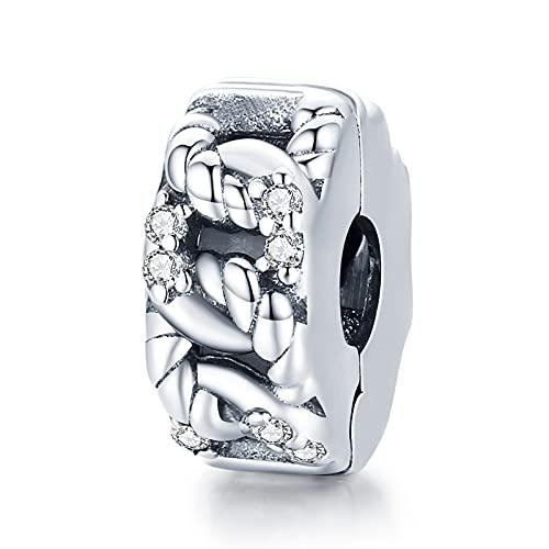 HMMJ Colgante Charm, Clip de Cadena de Diamantes geométricos Charm Bead 925 Separadores de Plata esterlina para Pandora Chamilia y Pulseras y Collares Europeos