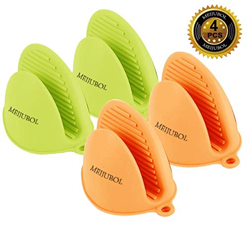 MEIJUBOL Silicone Thicken Oven Mitt Potholder Grip Heat Resistant Pinch Finger Protector Set of 2 Pairs (Green and Orange) for Kitchen Cooking Baking Protect Finger from Hot Plate Pot Dish and Bowl