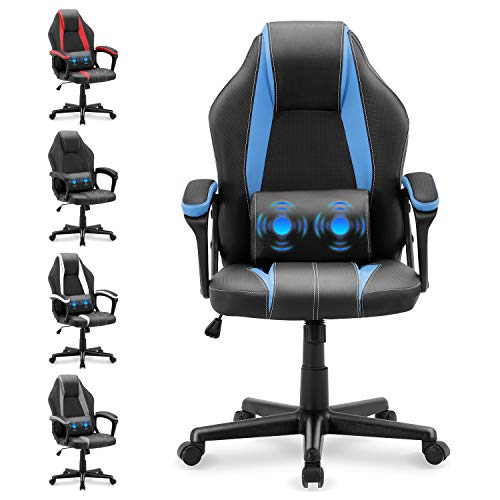 Yaksha Gaming Chair Massage PC Gamer Chairs Ergonomic Racing Style Computer Chair E-Sports Chair with Lumbar Support Armrest High Back Chair for Gaming Office(Storm Blue)