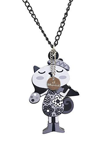 Collar de aluminio con colgante de gato pintor de resina pintada gris