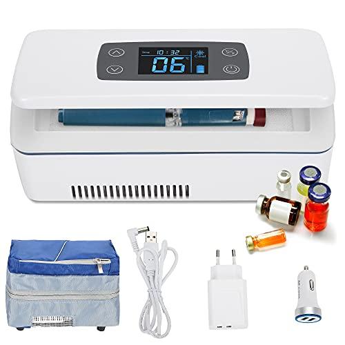 CGOLDENWALL Tragbare Insulin Kühlbox für Medikamente Mini Intelligente Elektrische Mini Kühlschrank 175 * 60 * 26 mm Kühltasche Thermostat USB für Reise&Haushalt