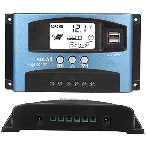 Jingyig 12V 24V Solarladeregler, 40/50/60/100A MPPT Solarladeregler Dual USB Solar Batterieladegerät mit LCD-Anzeige(40A)