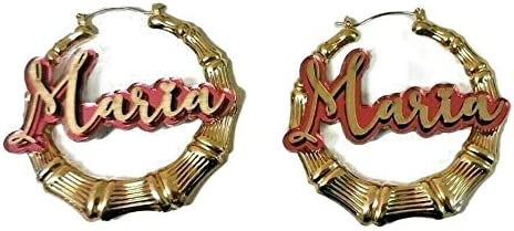 Bamboo Earrings Hoop Name Plate Custom 2. Gold 67% OFF of fixed price Store Personalized 1.5
