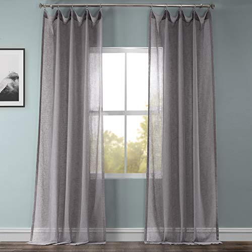 HPD Half Price Drapes SHCH-SS071617-96 Solid Faux Linen Sheer Curtain (1 Panel), 50 X 96, Gravel Grey