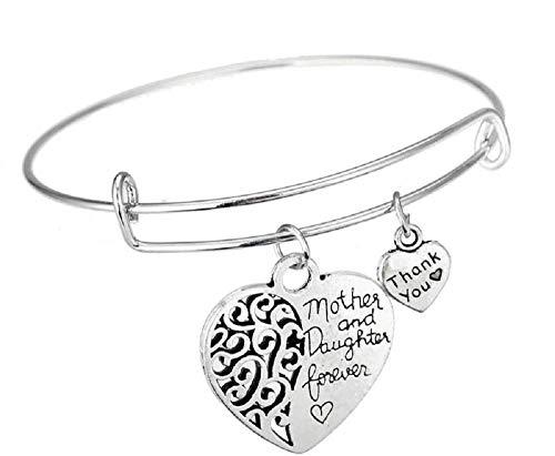 Armband - gravure - dames - moeder en dochter - hart en liefde - en voor altijd - moeder en dochter voor altijd sieraden bangle mother and daughter forever bangle