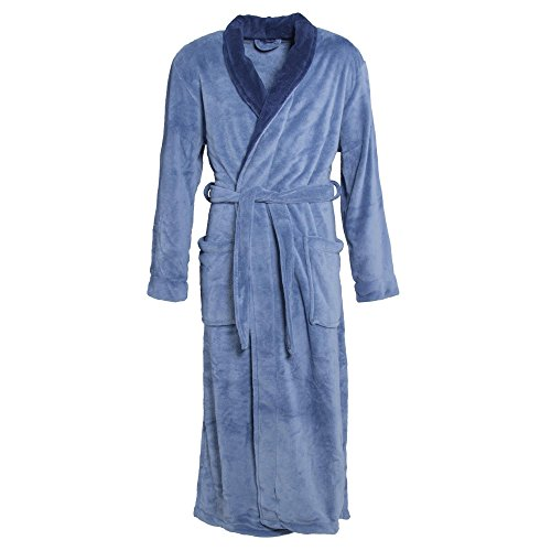 CelinaTex Nevada Bademantel Damen Herren XL mittel blau dunkel blau Mikrofaser Saunamantel Coral Fleece Morgenmantel