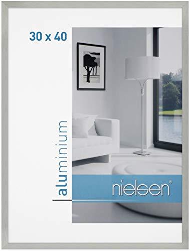 Bilderrahmen von Nielsen Alurahmen C2 30x40 Struktur Silber matt - Normalglas 2er Pack