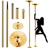 zmtzl Pole Dancing Pole 45mm Spinning & Static,Portable Fitness Exercise Stripper Professional Pole Dancing Kit for Lap Dance Metal Steel Capacity 200kg Portable Fitness Pole (Gold)