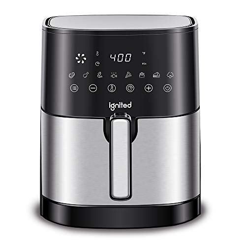 Ignited Air Fryer, 5.5/7.5 Quart, 1700-Watt Cooker, LED Digital Touchscreen with Preset Buttons, Nonstick Coating Pan