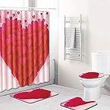 COMPY 4PCS / Set Cortinas de baño Patrón de Amor romántico Cortina de Ducha Pedestal Alfombra Tapa Tapa del Inodoro Alfombrilla de baño Set, Y180917-C002