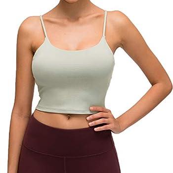 Lemedy Women Padded Sports Bra Fitness Workout Running Shirts Yoga Tank Top  L Jasmine Green