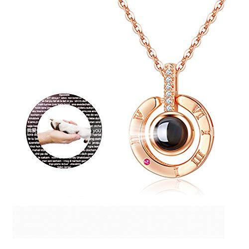 hjsadgasd Personalisierte Foto 100 sprachen Halskette ich Liebe Dich Halskette anhänger halsketten für Frauen mädchen Speicher Halskette