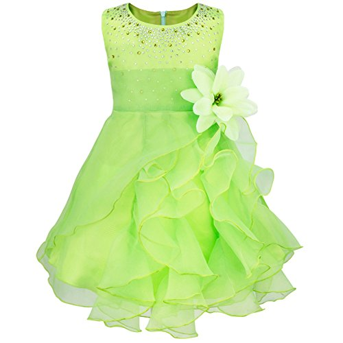 TiaoBug Baby Mädchen Kleid Prinzessin Hochzeit Taufkleid Blumenmädchen Festlich Kleid Kleinkind Festzug Kleidung Grün 98 (Herstellergröße: 90)