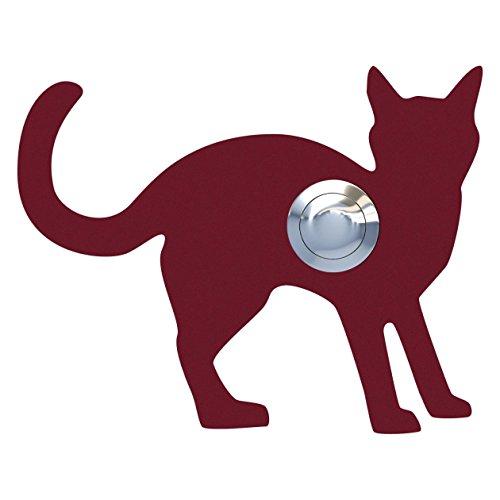 Belknop, design bel, deurbel roestvrij staal gepoedercoat kat, Leo'' rood - Bravios