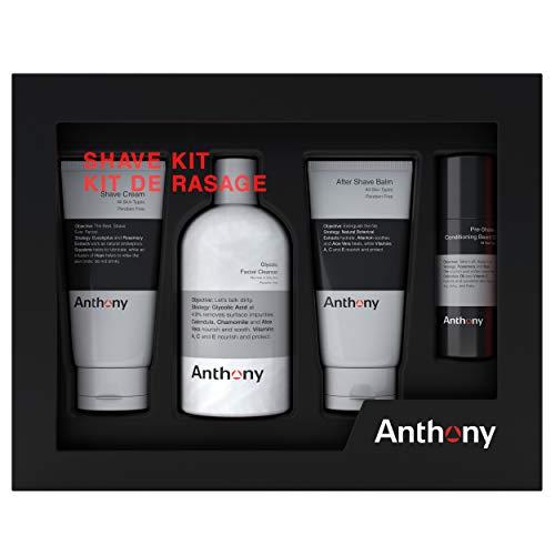 Anthony Shave Kit, Set Includes, 8 fl oz Glycolic Facial Cleanser, 2 fl oz Pre- Shave + Conditioning Beard Oil, 3 fl oz Shave Cream, 3 fl oz After Shave Balm
