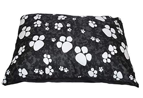 SleepyNights Large Pet Dog Bed Zipped Removable Cover & Washable Cushion - Pawprints Black