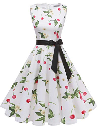 Gardenwed Damen 1950er Vintage Cocktailkleid Rockabilly Retro Schwingen Kleid Faltenrock White Small Cherry S
