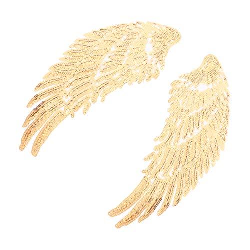 SOIMISS 1 par de Parches de Hierro en Forma de Alas de Lentejuelas Parches Bordados Apliques Diy Decoración Artesanal Coser Parches para Ropa Jeans Oro