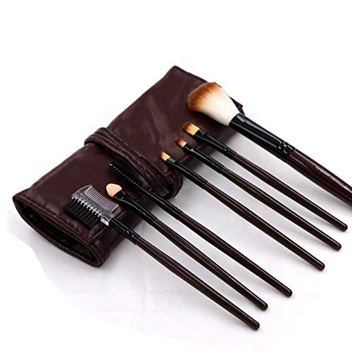 JFFFFWI Pinceau de Maquillage Beauty Tool 7 Portable PU Pack Cosmetic Brush Débutant Cosmetic Brush Suit, Coffee