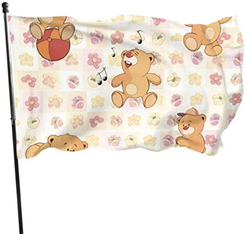 PEIYUH Flags,Funnycartoon Teddy Bears Decorating Flags Flag Durable Polyester Banner,for Indoors Outdoors Decor Flags 3 X 5 Ft
