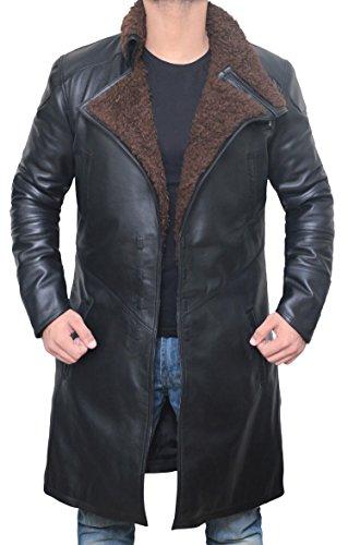 BlingSoul Black Trench Coat Men - Black Long Shearling Jacket Coat for Men | [1500324] Blade Real, L