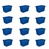 Sterilite 30 Gallon Plastic Stackable Storage Tote Container Box with Latching Lid, Blue (12 Pack)