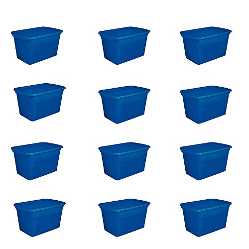 Sterilite 30 Gallon Plastic Stackable Storage Tote Container Box, Blue (12 Pack)