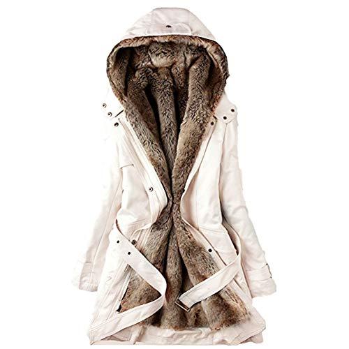 XIAOJIE Vrouwen katoenen jas Winter Warm Vrouwen Zwart Hooded Faux Bontjas Jas Mode Leger Groen Slim Liner Katoen Jas