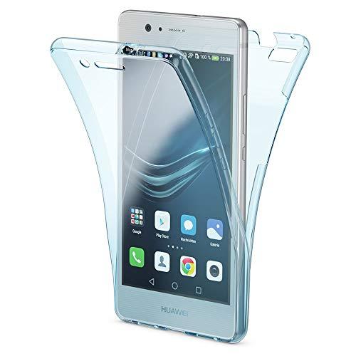 NALIA Funda Carcasa Compatible con Huawei P9 Lite, Protectora 360 Grados, Movil TPU Silicona Ultra-Fina Gel Transparente, Doble Delantera Protección Cubierta Goma Bumper Cover Case - Azul