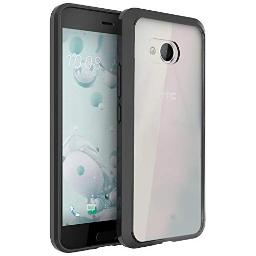 FINON Clear Perfect Body Model [ TPU Bumpers/PC ] for HTC U11 Case with Hybrid Protective Clear and Impact Resistance - Black